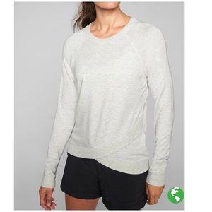 Athleta light heather gray crisscross sweatshirt